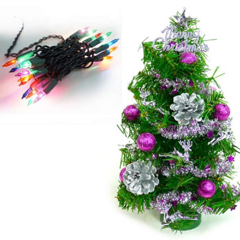 摩達客 迷你1尺(30cm)裝飾聖誕樹(銀紫色系)+20燈樹燈串