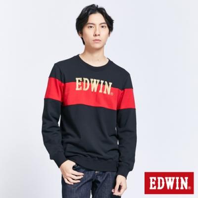 EDWIN 配色拼接LOGO長袖T恤-男-紅色