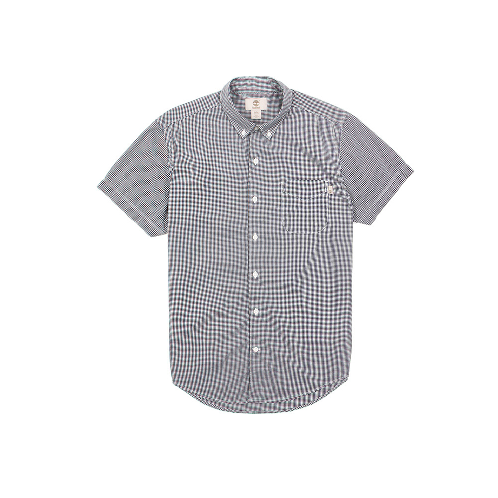 Timberland 男款藍白細格紋短袖襯衫 | A1M58B68