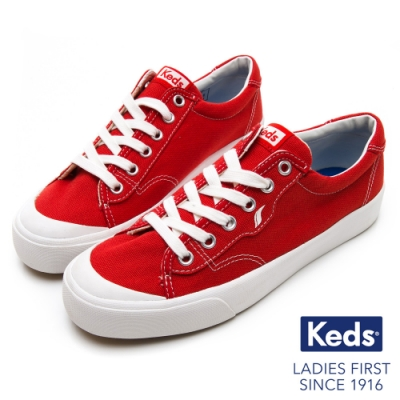 Keds CREW KICK 經典半月帆布綁帶休閒鞋-紅