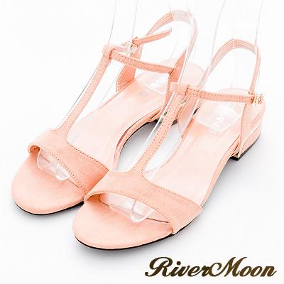 River&Moon涼鞋-摩登細絨T字線條粗方跟涼鞋-粉