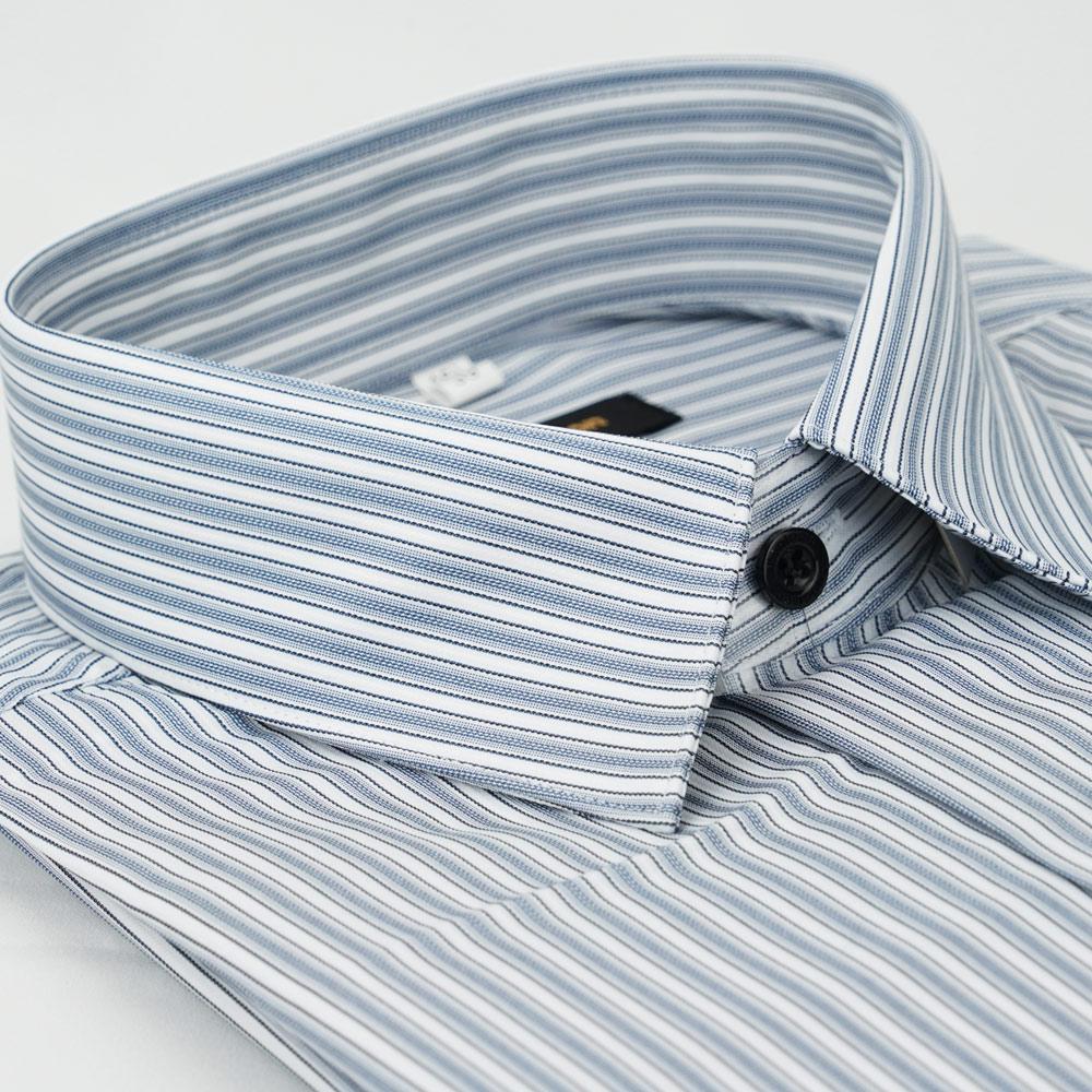 金‧安德森 灰底白條紋吸排窄版長袖襯衫fast