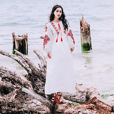 復古文藝民族風棉麻連身洋裝-S~L-維拉森林