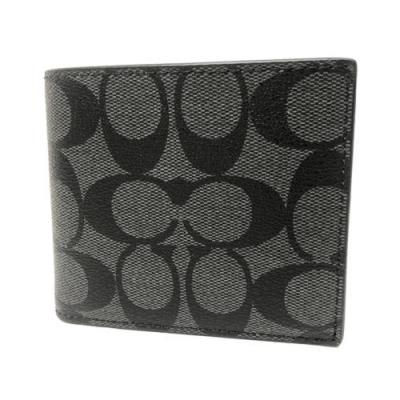 COACH 男款8卡對折短夾附活動式證件夾禮盒(C LOGO-黑灰)