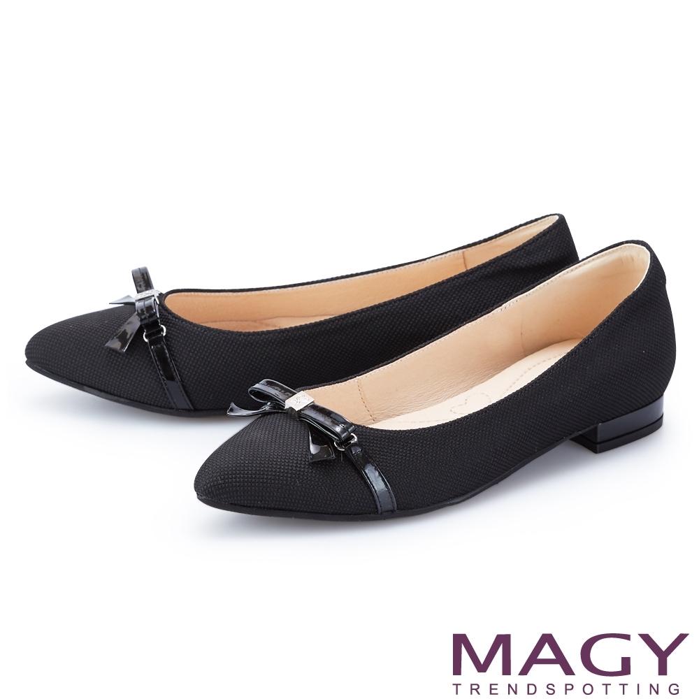 MAGY 細版皮革蝴蝶結尖頭 女 平底鞋 黑色