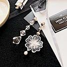 梨花HaNA 優雅女孩水晶花朵緞帶清透耳環