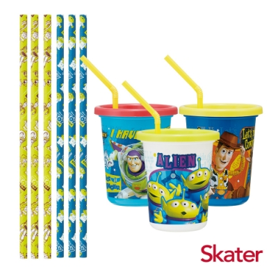 Skater日本製3入水杯-320ml+紙吸管(玩具總動員TOY)