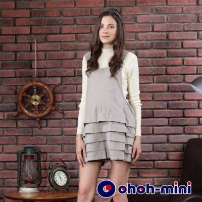 【ohoh-mini孕婦褲】吊帶甜美層次連身孕婦短褲