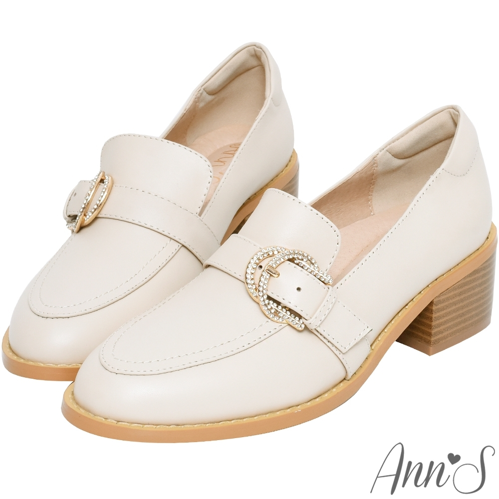 Ann'S日系微甜-小羊皮閃耀鑽石扣粗跟紳士鞋-杏