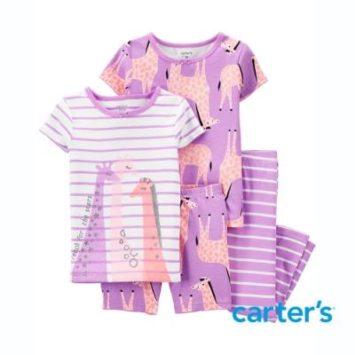 【Carter s】長頸鹿家族4件組套裝(短袖上衣/長褲)(2T-5T)
