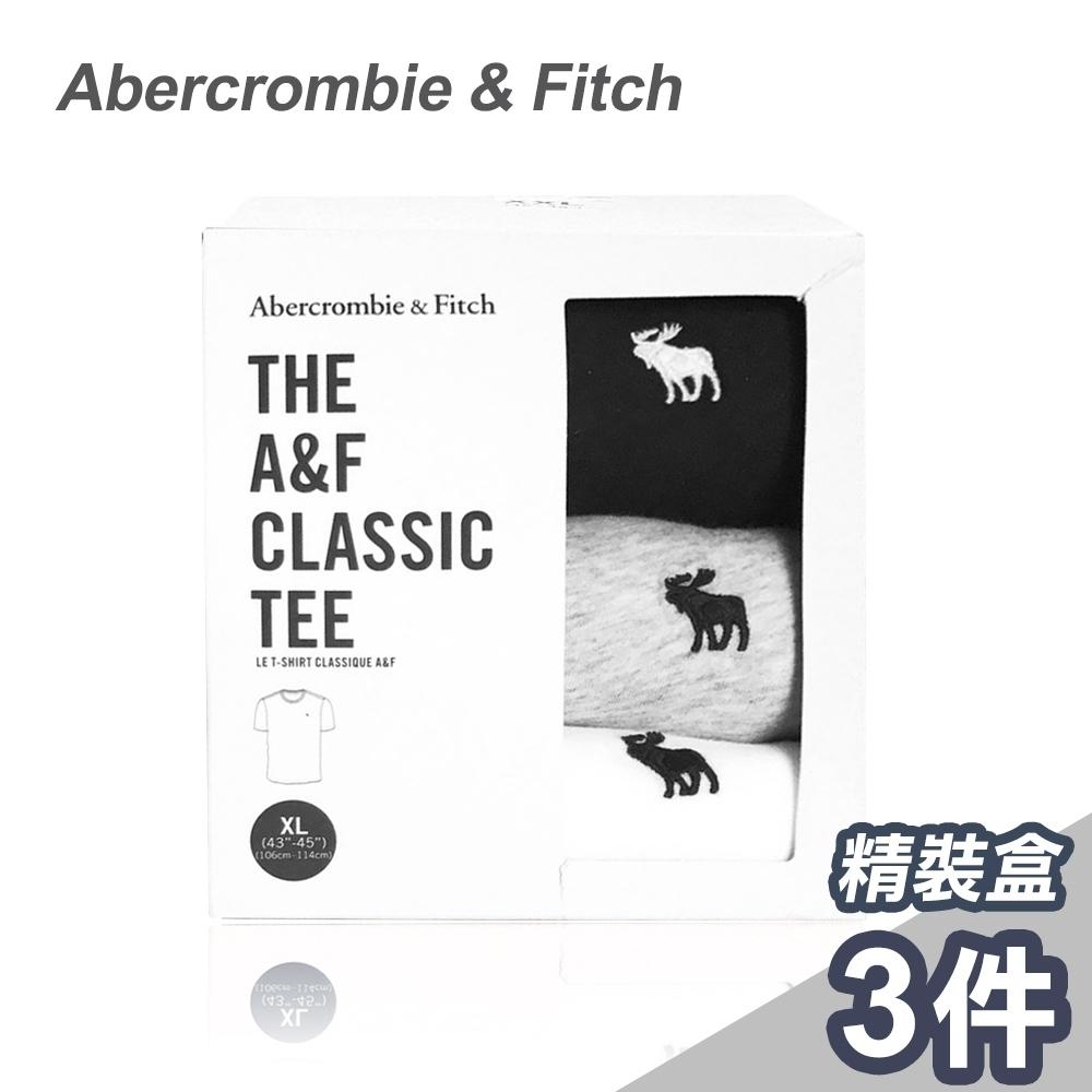 A&F 美國麋鹿/刺繡圓領經典/短袖素T恤/三色純棉款(1242320030120)