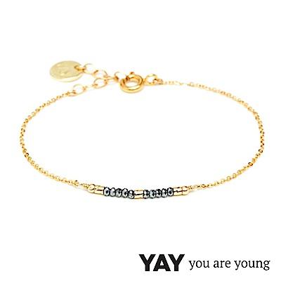 YAY You Are Young 法國品牌 Cleo 灰寶石手鍊 迷你款 金色