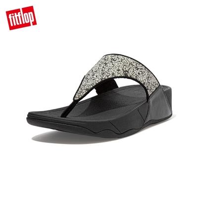 FitFlop LULU GLITTER SPLASH WIDE FIT TOE-POST SANDALS 潑墨亮粉夾腳涼鞋-女(黑色)