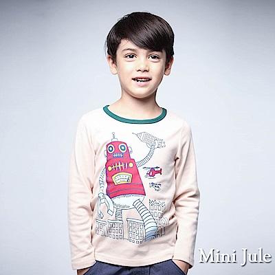 Mini Jule 上衣 機器人印花綠色滾邊圓領長袖T恤(杏色)