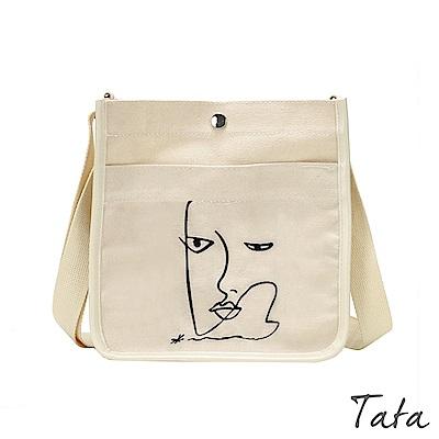 可愛圖案方形帆布包 共二色 TATA