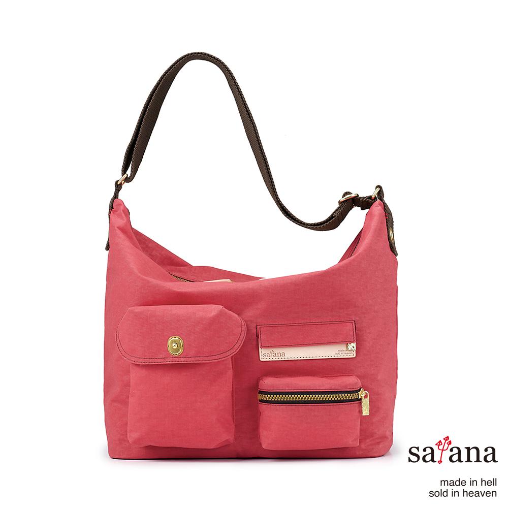 satana - 簡單生活Hobo斜背包 - 漿果紅