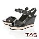 TAS寬版縫線繫帶楔型涼鞋-經典黑 product thumbnail 1