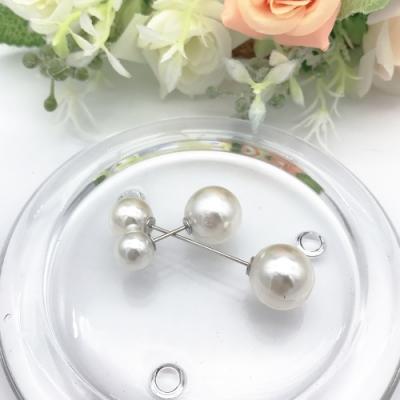 Hera 赫拉 簡約配件防走光雙珍珠領針/胸針-2入組