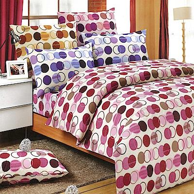 Carolan-圓點 精梳混紡棉  雙人床包被套組(5x6.2尺)