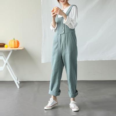 甜蜜的初戀褲/苧麻休閒棉麻連身長褲-設計所在