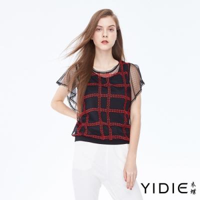 YIDIE衣蝶 鎖鏈刺繡方格罩衫假兩件上衣-黑