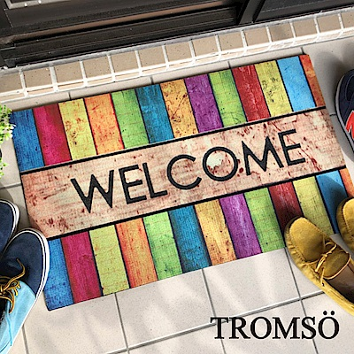 TROMSO戶外植絨橡膠厚實刮泥地墊(大)-繽紛歡迎