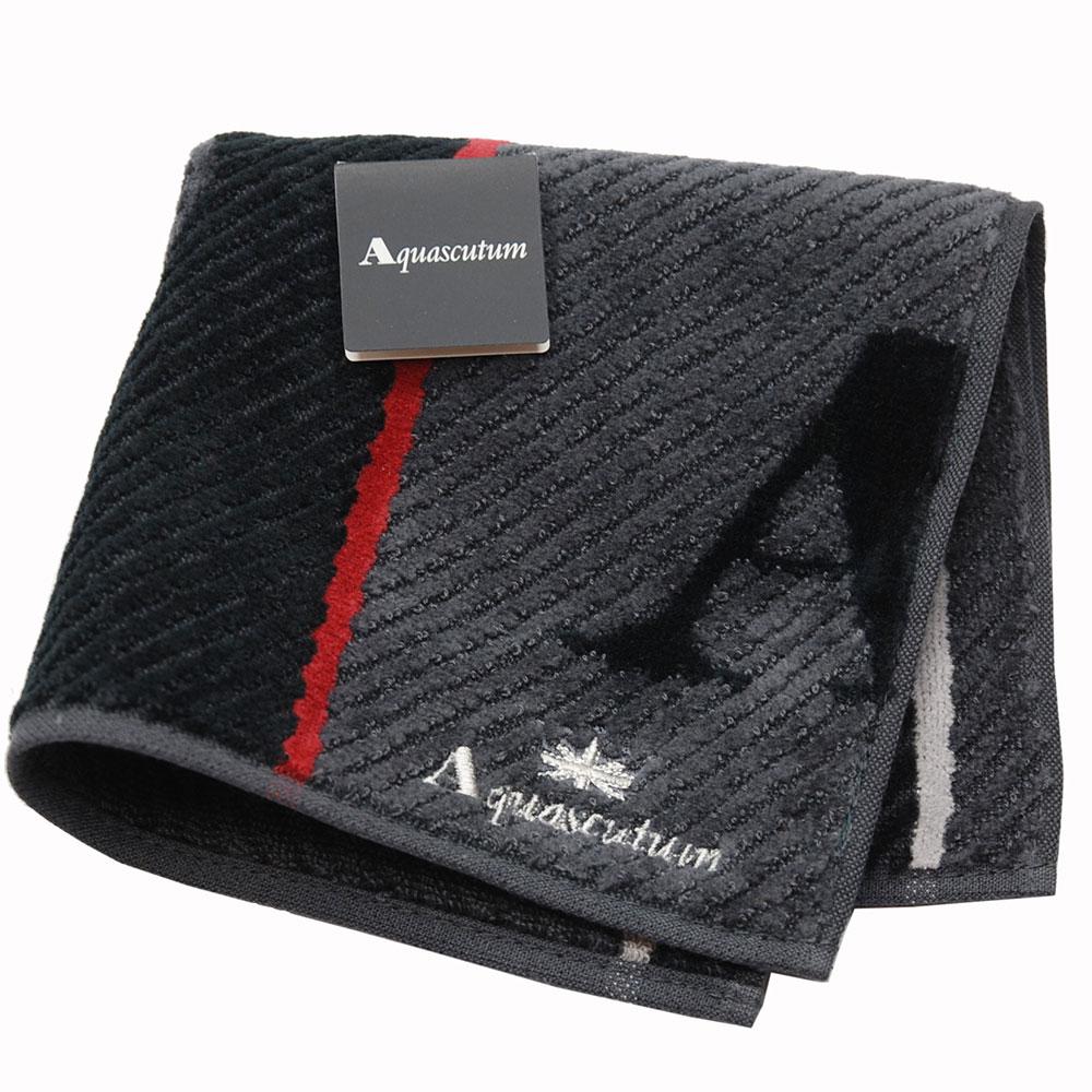 Aquascutum 經典品牌大圖騰LOGO字母刺繡小方巾(黑灰色系)