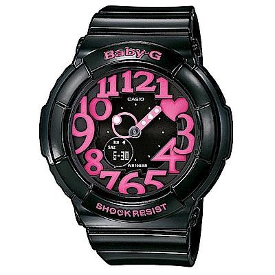 BABY-G 活潑玩味立體霓虹多彩休閒錶(BGA-130-1B)-黑/桃紅字/43.4mm @ Y!購物