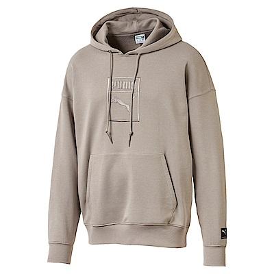 PUMA-男性流行系列Downtown寬版長厚連帽T恤-大地棕-亞規