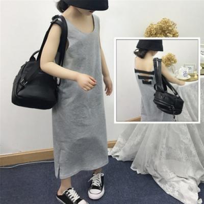 小衣衫童裝 女童夏季潮款露背灰色長款背心裙1090320