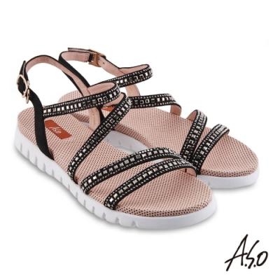 A.S.O時尚流行 夏季輕量條帶燙鑽休閒涼鞋-黑