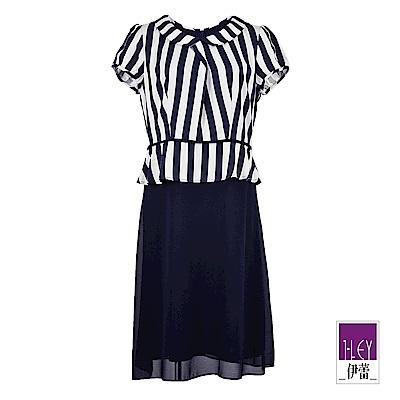 ILEY伊蕾 條紋珠飾剪接洋裝(藍)