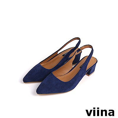 viina Basic尖頭絨布素面後空跟鞋 - 深藍