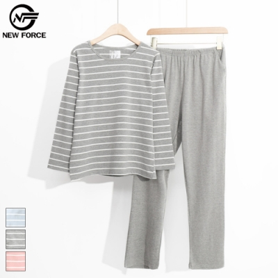 NEW FORCE 長袖棉質條紋睡衣套裝-灰白