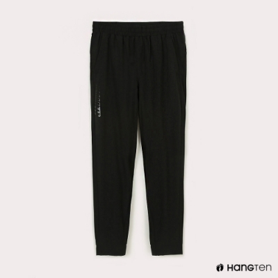 Hang Ten-男裝-恆溫多功能-REGULAR FIT標準四向彈力吸濕快乾抗曬運動長褲-黑色