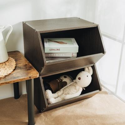 樂嫚妮 收納櫃/置物櫃/玩具櫃-2入組-深胡桃木色