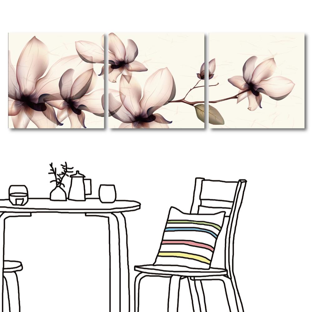 123點點貼 三聯清新風花卉家居壁貼30x30cm