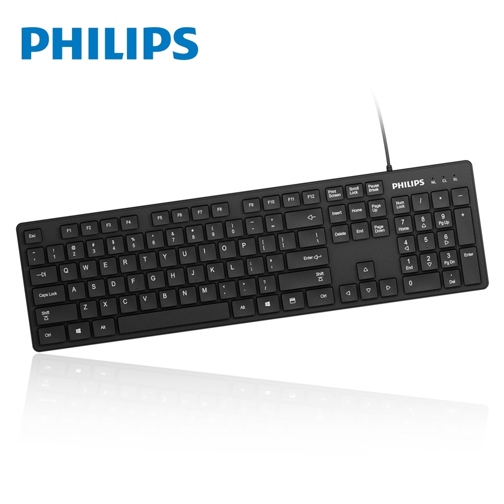 PHILIPS 飛利浦 巧克力低噪音有線鍵盤 SPK6302