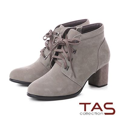 TAS質感素面牛皮綁帶高跟短靴–成熟灰