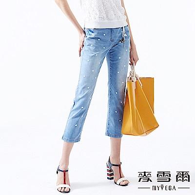 【麥雪爾】棉質刺繡小白花牛仔八分褲