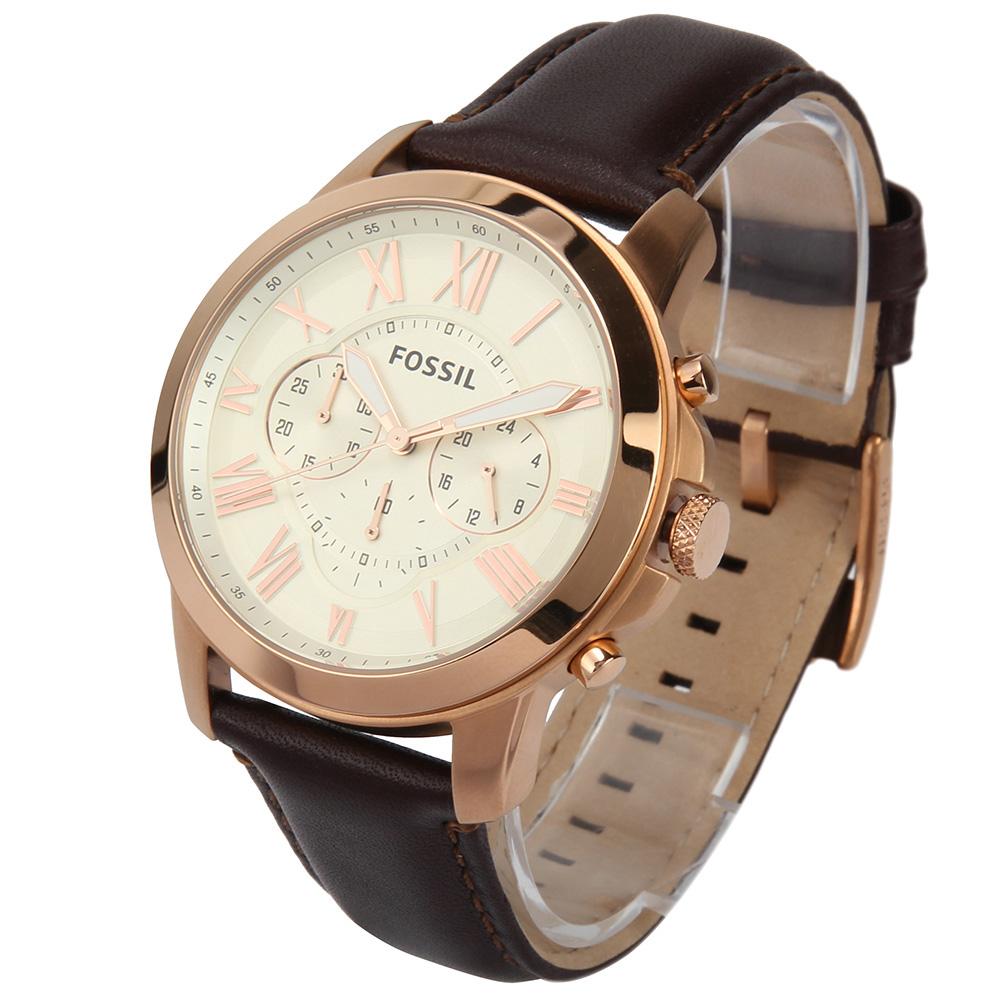 FOSSIL 羅馬時標三眼計時皮革腕錶-(FS4991)-44mm