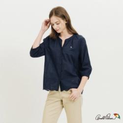 Arnold Palmer-女裝-蕾絲下擺七分袖全開襟襯衫-藍