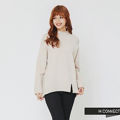 H:CONNECT 韓國品牌 女裝-開岔設計高領針織上衣-灰
