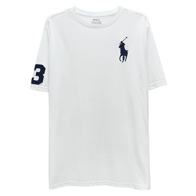 Ralph Lauren 大童刺繡數字3經典大馬素面短袖t恤-白色(XL/18-20歲)