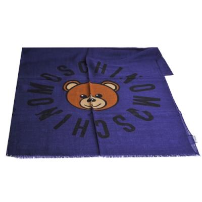 MOSCHINO品牌TOY小熊LOGO義大利製羊毛混蠶絲披肩/圍巾(藍紫色)