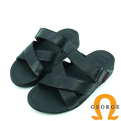 【GEORGE 喬治皮鞋】休憩系列 真皮交叉編織涼鞋拖鞋-黑