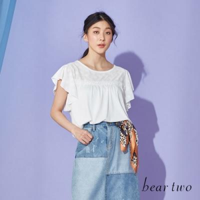 beartwo-荷葉袖造型上衣-白