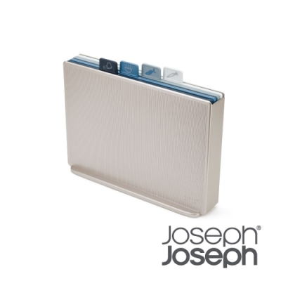 Joseph Joseph 檔案夾止滑砧板組-雙面附凹槽(大天空藍)