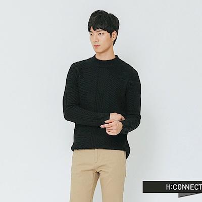 H:CONNECT 韓國品牌 男裝-簡約坑條針織上衣-黑