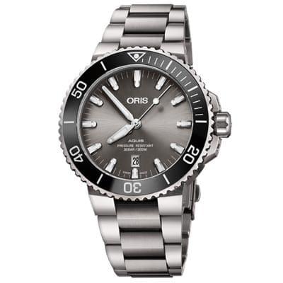 ORIS 豪利時 Aquis 潛水機械鈦金屬腕錶-灰43.5mm